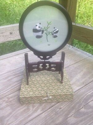 Chinese Asian Art PANDAS Embroidered Silk Picture Under Glass Wooden Frame