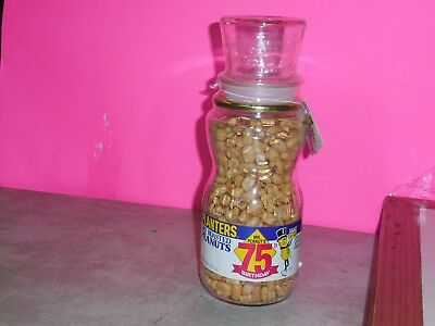 Collectible PLANTER Mr Peanut's 75th Birthday Glass Jar Full Sealed Top Hat