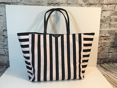 Victoria's Secret Pink And Black Large Striped Tote Beach Or Overnight Bag