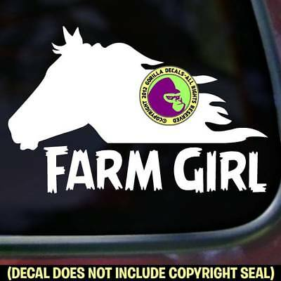 FARM GIRL Horse Head Equine Country Car Window Trailer Sign Vinyl Decal Sticker