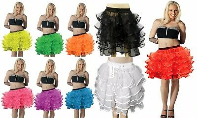 New Women�s Ladies Adult Celebrity 5 Layered Neon Fancy Party Dress Tutu Skirts