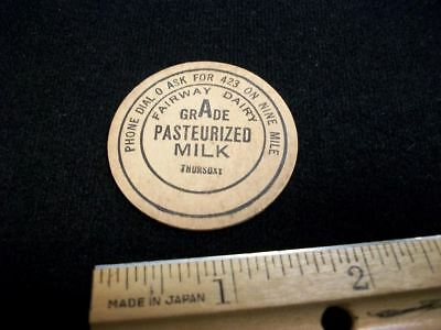 Nine Mile, Fairway Dairy, Fort Wayne Indiana   MILK BOTTLE  TOP CAP Nine Mile