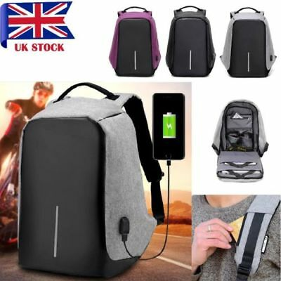 Unisex Anti-Theft Backpack Laptop USB Port Charger Travel Oxford School Bags