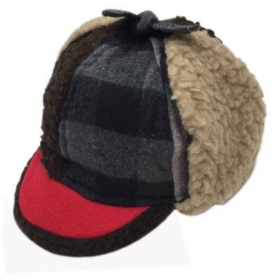 Nara Caps Little Boys and Baby Buffalo Plaid Fleece Trooper Hat