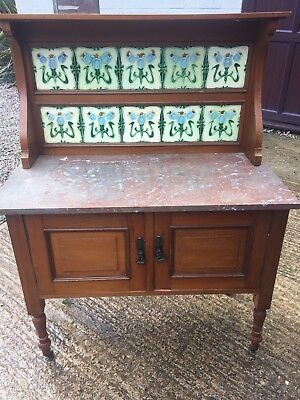 Victorian Washstand with Majolica 1904 Art Nouveau Tiles