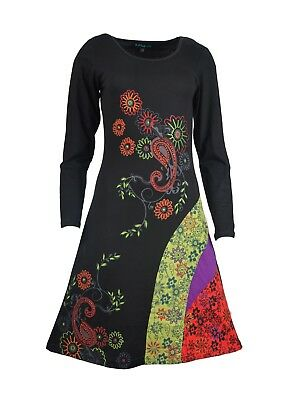Tattopani Ladies Long Sleeve Tunic Dress With Floral Print And Embroidery Work