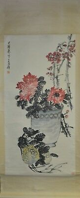 Vintage Chinese Watercolor FLOWER AND FRUIT Wall Hanging Scroll Painting