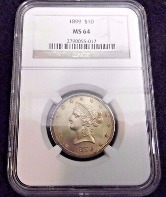 1899 $10 Ngc Ms 64 Liberty Eagle Gold Coin
