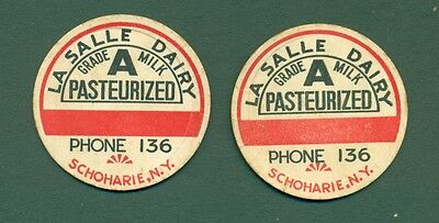 (2)  LA SALLE DAIRY SCHOHARIE, N. Y.   Milk Bottle Caps 1 5/8""
