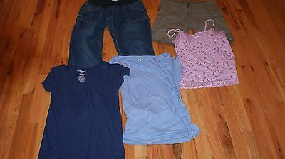 Maternity Clothes Lot Size Small 5 Piece Jeans Shorts Shirts Old Navy Excellent