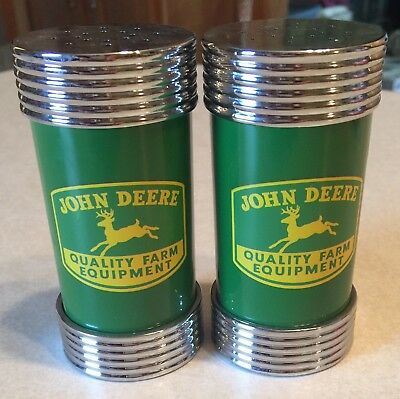 John Deere Salt/Pepper Shakers!  Printed front & back sides!  Exc.  condition!!!