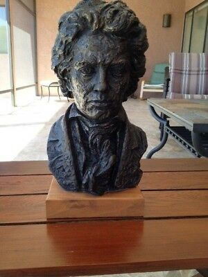 Beethoven Bust Austin 1961 Ceramic Bronze Marble Sculpture