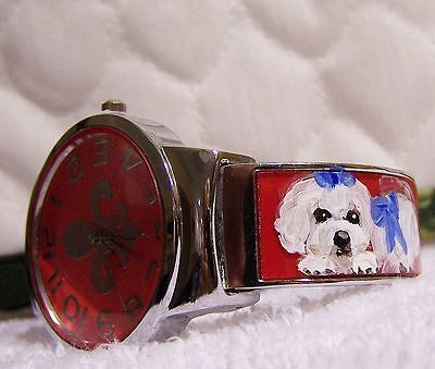 hand painted Maltese on fleur de lis cuff watch