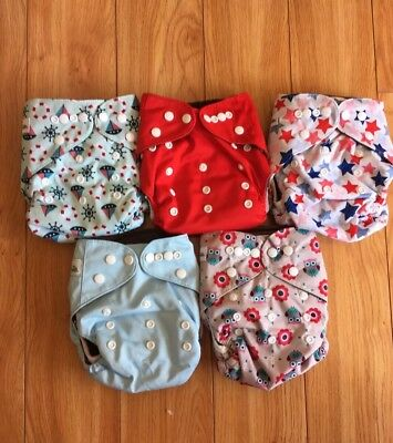 Baby Cloth Pocket Diaper Stash x 5 - each with charcoal bamboo insert (5 layer)