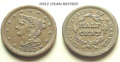 Sharp Unc 1853 Braided Hair Half Cent-Low Mintage-Great Color!  Free Shipping!