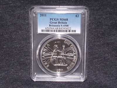 2011 PCGS MS68 GREAT BRITAIN BRITANNIA £2 TWO POUND SILVER 1OZ * Low Pop *