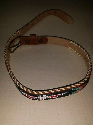 Vintage BEADED LEATHER NATIVE AMERICAN ART HAND CRAFTED Belt 26 inches