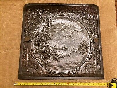 ANTIQUE CAST IRON FIREPLACE SUMMER COVER - Western Themed