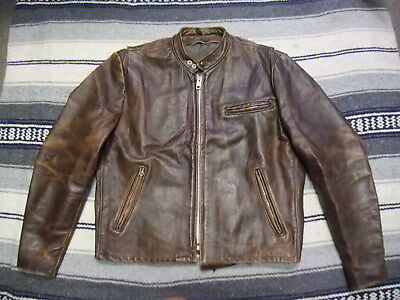 VTG 70s Cafe Racer Motorcycle Biker Rider Leather Jacket Brown Made In USA S01