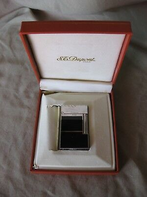 S.t. Dupont Memorial Lighter Laque De Chine Silver And Black With Box