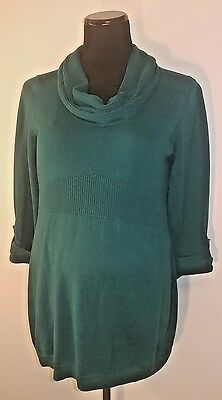 Oh Baby Motherhood Women's Sweater Large L Teal Cowl 3/4 sleeve Shirt Maternity