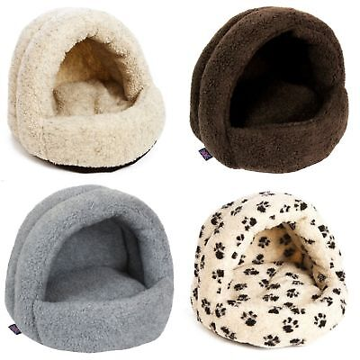 P&L Superior Hooded Igloo Shaped Sherpa Fleece Cat Bed