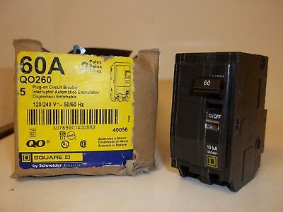 Square D Qo260 Circuit Breaker, 2 Pole 60A 120/240V, New Fs