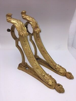 Antique Pair  French Ormolu Bronze Curtain Drapery Rods Arms Tie Backs Hooks