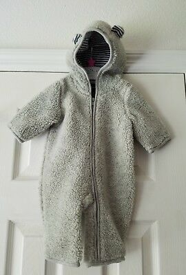Baby Gap 0-3 month bunting hooded long sleeve zipper front gray snowsuit ears
