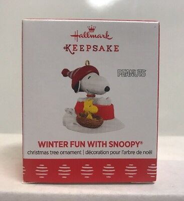 2017 Hallmark Keepsake Peanuts Winter Fun With Snoopy Ornament , NEW