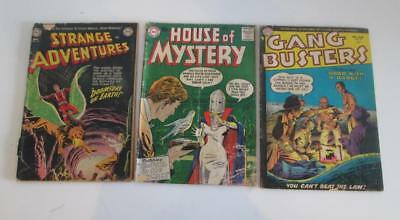 3x Comic Books Gang Busters No 44 House of Mystery No 66 Strange Adventure No 24