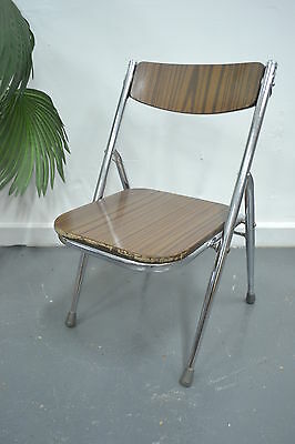 VinTaGe Retro Industrial chair 70s laminate kids childrens fold up chrome