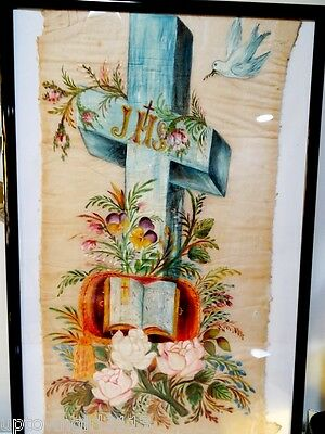 1800s MEMORIAM PAINTING mourning art DOVE CROSS BIBLE funerary MUSEUM QUALITY