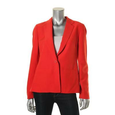 Tommy Hilfiger 4227 Womens Red Solid Lined Notch Collar One-Button Blazer 8 BHFO