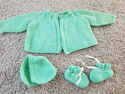Vintage Antique Baby Mint Green Sweater Bootie Hat Set Beautiful Color!!!