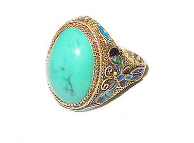 Vintage Chinese Enameled Silver Filigree Ring w/ Cabochon Turquoise