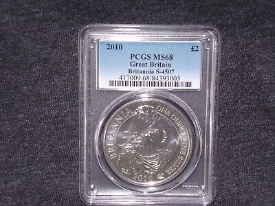*2010 PCGS MS68 GREAT BRITAIN BRITANNIA £2 TWO POUND SILVER 1OZ * Low Pop*
