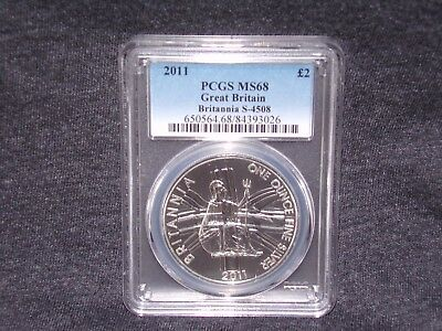 *2011 PCGS MS68 GREAT BRITAIN BRITANNIA £2 TWO POUND SILVER 1OZ * Low Pop *
