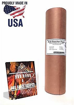 Pink Butcher Kraft Paper Roll  18 x 175 + FREE eBook | Peach BBQ Smoking Pape...
