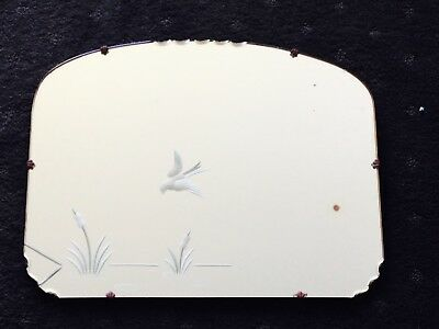Vintage Large Scalloped Edge Etched Art Deco Mirror - Flying Bird River Reeds