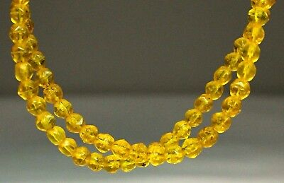 91) Native American Indian Czech Yellow Faceted Old Trade Beads Artifact AZ