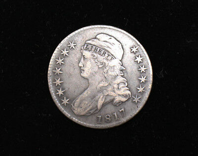 Ungraded Estate Us Silver Coin 1817 Capped Bust Half Dollar Fifty Cent As Shown