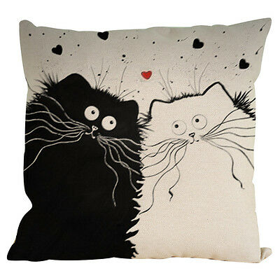 Vintage Cat Dog Cotton Pillow Case Sofa Waist Throw Cushion Cover Car Decor B