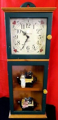 Grandfather Clock with Knick-Knack Shelves Glass Wall /Mantel Clock