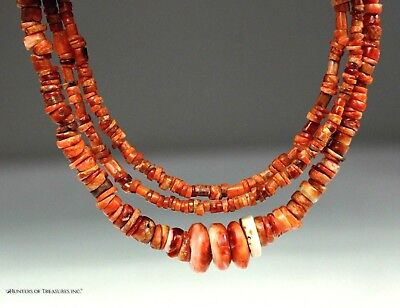 99) Ancient Pre Columbian Indian Moche or Chimu Red Spondyllus Beads Artifact