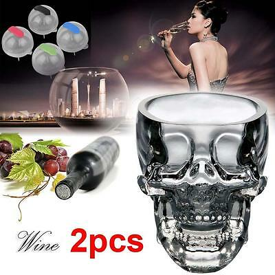 2pc Crystal Skull Head Glass Cup Vodka Cocktail Drinkware + 4x Ice Brick Mold ❀A