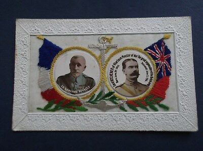 WW1 Embroidered  Silk Postcard : GENERAL NIVELLE & LORD KITCHENER