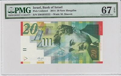 ISRAEL, Bank Of Israel  2014, 20 New Sheqalim . PMG 67 EPQ .Superb Gem UNC