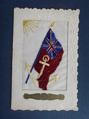WW1 Embroidered  Silk Postcard : NAVAL FLAG AND ANCHOR