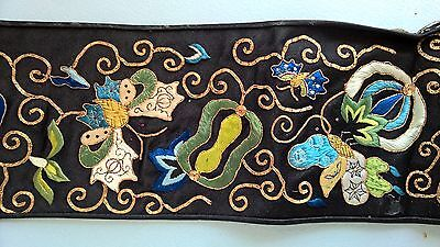 Antique Chinese FORBIDDEN STITCH Silk Panel/Stole/Sleeve GOLD METAL EMBROIDERY